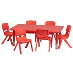 24''W x 48''L Adjustable Rectangular Red Plastic Activity Table Set with 6 School Stack Chairs [YU-YCX-0013-2-RECT-TBL-RED-E-GG]