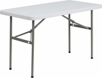 24''W x 48''L Granite White Plastic Folding Table [DAD-YCZ-122-2-GG]
