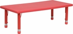 24''W x 48''L Height Adjustable Rectangular Red Plastic Activity Table [YU-YCX-001-2-RECT-TBL-RED-GG]