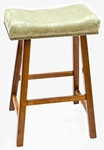 Valencia Wood 24''H Backless Stool with Apple Green Upholstered Seat - Walnut [682-43-AG-FS-CCTCO]