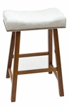 Valencia Wood 24''H Backless Stool with Chamois Upholstered Seat - Walnut [682-43-CH-FS-CCTCO]