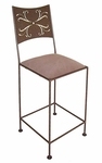 Wheat 24'' Wrought Iron Counter Stool with Upholstered Seat [GMC-3024-WHEAT-FS-GCM]