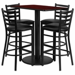 24'' x 42'' Rectangular Mahogany Laminate Table Set with Ladder Back Metal Barstool and Black Vinyl Seat, Seats 4 [REST-015-BK-MAH-FS-TDR]