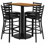 24'' x 42'' Rectangular Natural Laminate Table Set with Ladder Back Metal Barstool and Black Vinyl Seat,Seats 4 [REST-015-BK-NAT-FS-TDR]