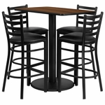 24'' x 42'' Rectangular Walnut Laminate Table Set with Ladder Back Metal Barstool and Black Vinyl Seat, Seats 4 [REST-015-BK-WAL-FS-TDR]