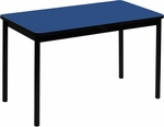 High Pressure Laminate Rectangular Lab Table with Black Base and T-Mold - Blue Top - 24''D x 48''W [LT2448-37-CRL]