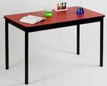 High Pressure Laminate Rectangular Lab Table with Black Base and T-Mold - Red Top - 24''D x 48''W [LT2448-35-CRL]
