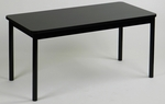 High Pressure Laminate Rectangular Library Table with Black Base and T-Mold - Black Granite Top - 24''D x 48''W [LR2448-07-CRL]