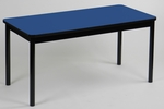 High Pressure Laminate Rectangular Library Table with Black Base and T-Mold - Blue Top - 24''D x 48''W [LR2448-37-CRL]