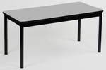 High Pressure Laminate Rectangular Library Table with Black Base and T-Mold - Gray Granite Top - 24''D x 48''W [LR2448-15-CRL]