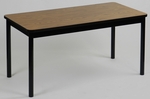 High Pressure Laminate Rectangular Library Table with Black Base and T-Mold - Medium Oak Top - 24''D x 48''W [LR2448-06-CRL]