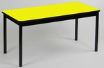 High Pressure Laminate Rectangular Library Table with Black Base and T-Mold - Yellow Top - 24''D x 48''W [LR2448-38-CRL]