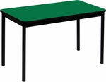 High Pressure Laminate Rectangular Lab Table with Black Base and T-Mold - Green Top - 24''D x 60''W [LT2460-39-CRL]