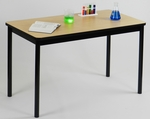 High Pressure Laminate Rectangular Lab Table with Black Base and T-Mold - Fusion Maple Top - 24''D x 72''W [LT2472-16-CRL]