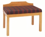 2449 Bench w/ Upholstered Seat & Wood Wall Protector - Grade 1 [2449-GRADE1-ACF]