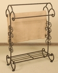 Three Pole Oil Rubbed Metal 34.5''H Quilt Rack with Storage Shelf - Bronze [1220-FS-PAS]