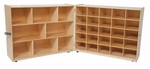 25 Cubby Birch Veneered Folding Storage Cabinet with Additional Shelving - 48-96''W x 15-30''D x 38''H [23609-WDD]