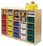 Birch 25 Cubby Tray Cabinet with 25 Assorted Colors Bins - 48''W x 13''D x 36''H [ELR-0427-AS-ECR]