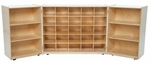 25 Cubby Tri-Fold Cabinet with Additional Shelving on Each Side - 48-96''W x 15-30''D x 38''H [25509-WDD]