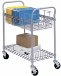 26.75'' W x 18.75'' D x 38.5'' H Wire Welded Mail Cart with Bottom Shelves - Gray [5235GR-FS-SAF]