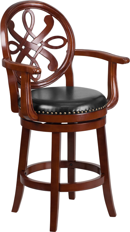 26 High Cherry Wood Counter Height Stool With Arms And