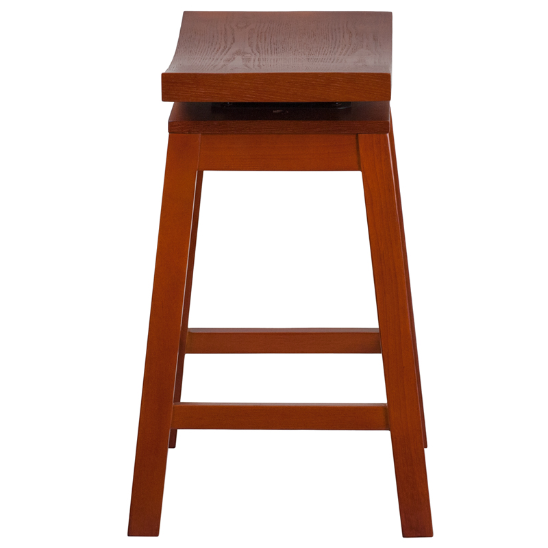 26 High Saddle Seat Light Cherry Wood Counter Height