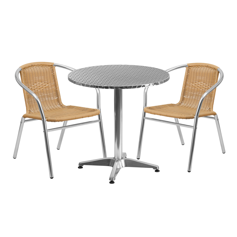 Excellent 27 5 Round Aluminum Indoor Outdoor Table With 2 Beige Rattan Chairs Unemploymentrelief Wooden Chair Designs For Living Room Unemploymentrelieforg