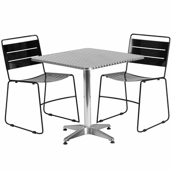 27 5 39 39 Square Aluminum Indoor Outdoor Table With 2 Black Metal Stack