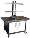 Mobile Wide Top A/V Cart with Locking Cabinet with Universal LCD Mount and Locking Cabinet - Black - 42''W x 24''D x 57.5''H [LE27CWTUD-B-FS-LUX]