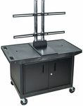 Mobile Wide Top A/V Cart with Universal LCD Mount and Locking Cabinet - Black - 42''W x 24''D x 57.5''H [LE27CWTUD-B-FS-LUX]