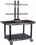 24''D x 42''W Rectangular Mobile TV Cart with Extra-Wide Top Shelf [LE27WTUD-B-FS-LUX]