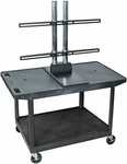 2 Shelf Mobile Wide Top A/V Cart with Extra-Wide Top Shelf with Universal TV Mount - Black - 42''W x 24''D x 57.5''H [LE27WTUD-B-FS-LUX]