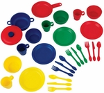 Kids Make-Believe 27 Piece Plastic Kitchen Cookware Play Set - Primary [63127-FS-KK]