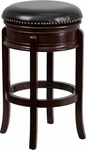 29'' Backless Cappuccino Wood Barstool with Black Leather Swivel Seat [TA-68829-CA-GG]