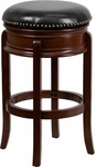29'' Backless Cherry Wood Barstool with Black Leather Swivel Seat [TA-68829-CHY-GG]