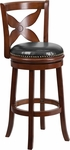 29'' Cherry Wood Barstool with Black Leather Swivel Seat [TA-68129-CHY-GG]