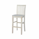 Mission Solid Parawood Armless Vertical Slat Back 29''H Bar Stool - Unfinished [265-30-FS-WHT]