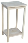 Portman Solid Parawood 16''W X 29''H Accent Table With Display Storage Shelf - Unfinished [OT-42-FS-WHT]