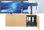 3 Bay Credenza with Universal Screen Mount System - Blonde [CREDENZA3BLONDE-V-TEQ]