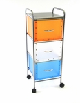 3 Drawer Utility Storage Cart - Multi Color [363020-FS-DCON]