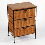 Wicker and Metal 3 Drawer Storage Chest with Wood Top [263069-FS-DCON]