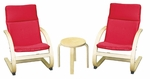 Birch Bentwood Ergonomically Shaped Comfort Chairs with Removable Cushions and Table Set [ELR-0344-ECR]