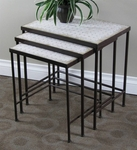 3 Piece Nesting Tables with Travertine Tops [605809-FS-DCON]