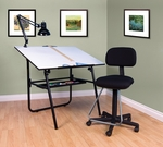 Ultima 3 Piece Fold-A-Way Drafting Desk Set includes Lamp and Maxima Drafting Chair - Black [32612-FS-SDI]