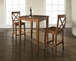 3 Piece Pub Dining Set with Cabriole Leg and X-Back Stools in Classic Cherry Finish [KD320001CH-FS-CRO]