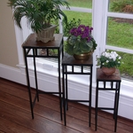 3 Piece Slate Square Metal Plant Stand [601623-FS-DCON]