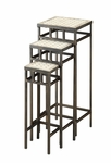 3 Piece Square Metal Plant Stands with Travertine Tops [605823-FS-DCON]
