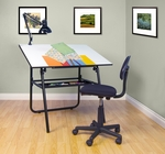 Ultima 3 Piece Fold-A-Way Drafting Desk Set includes Lamp and Task Chair - Black [32579-FS-SDI]