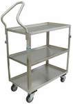 3 Shelf Stainless Steel 33'' H Cart with Shelf Lips Up and Ergonomic Handle [ZK124-U4-AS-JAM]