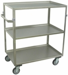 3 Shelf Stainless Steel 43'' H Cart with Shelf Lips Up [ZW236-U5-AS-JAM]